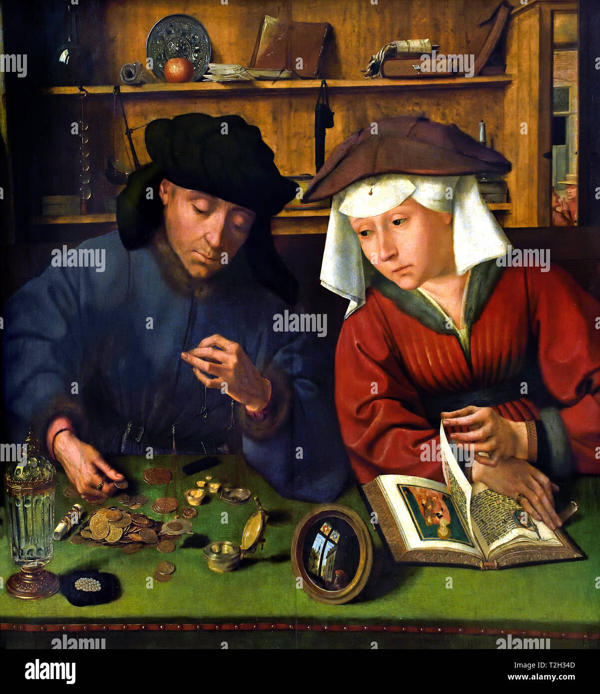 The moneychanger and his wife 1514 by METSYS Quentin, 1466-1530, Belgian, Belgium, Flemish, - Stock Image