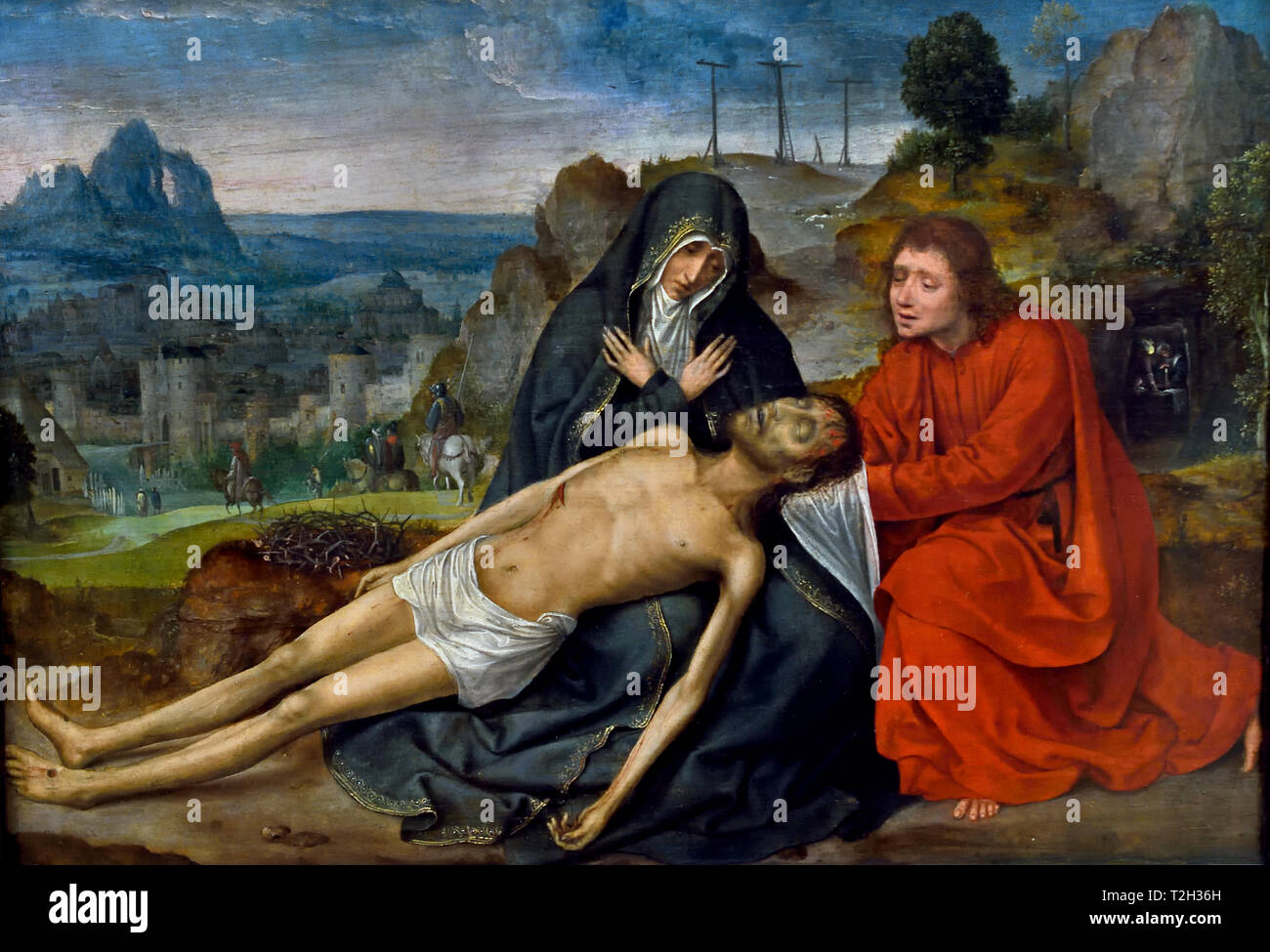 The Lamentation of Christ 1525 by METSYS Quentin, 1466-1530, Belgian, Belgium, Flemish, - Stock Image