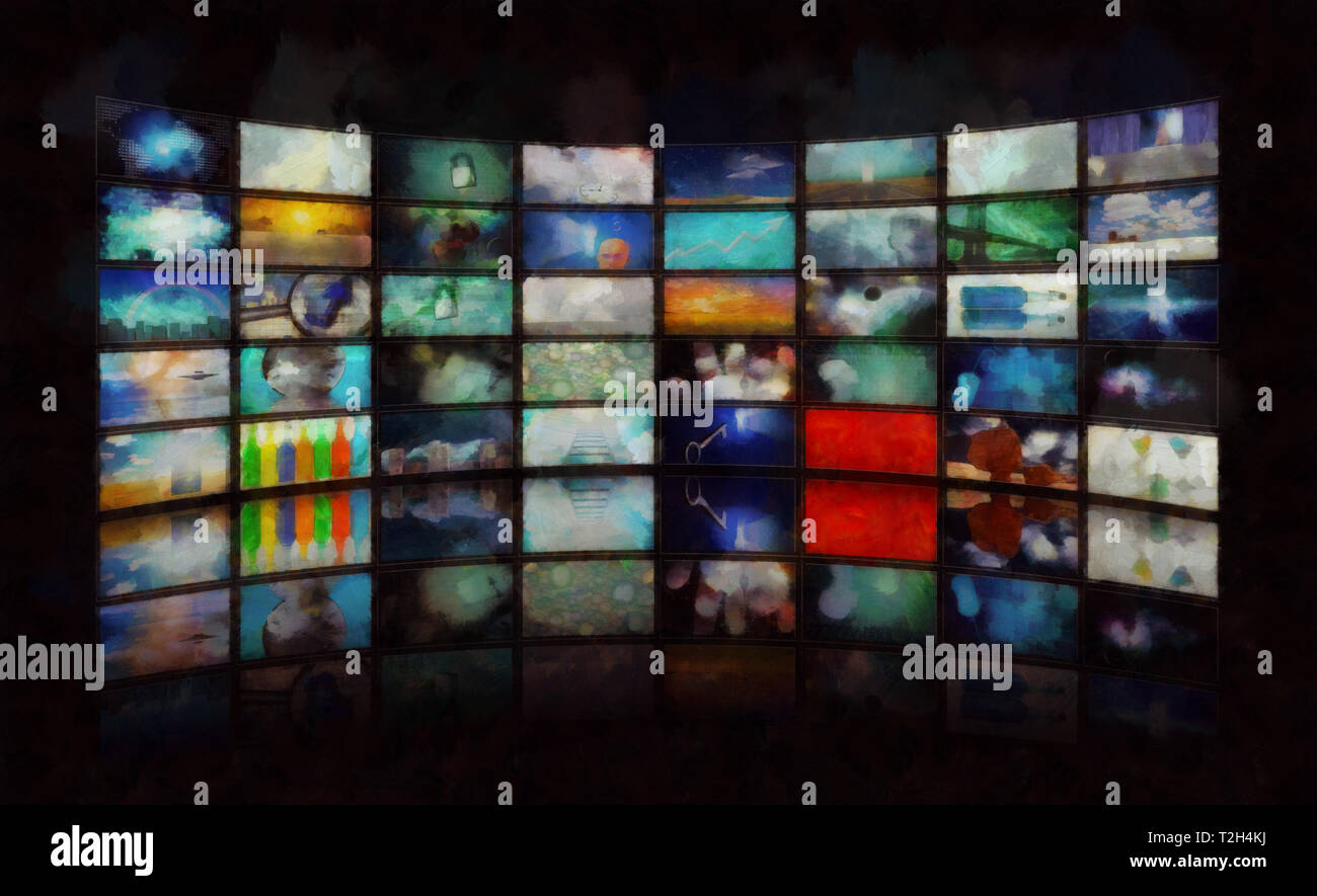 Mass media. Wall of TV's screens - Stock Image
