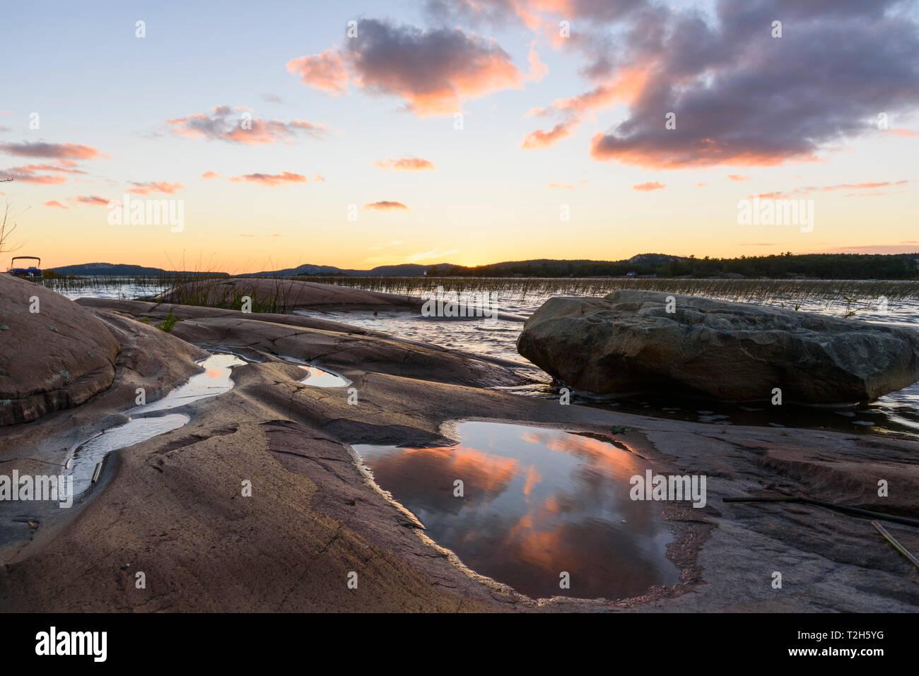 Georgian Bay and Lake Huron at dusk in Killarney, Ontario, Canada, North America Stock Photo