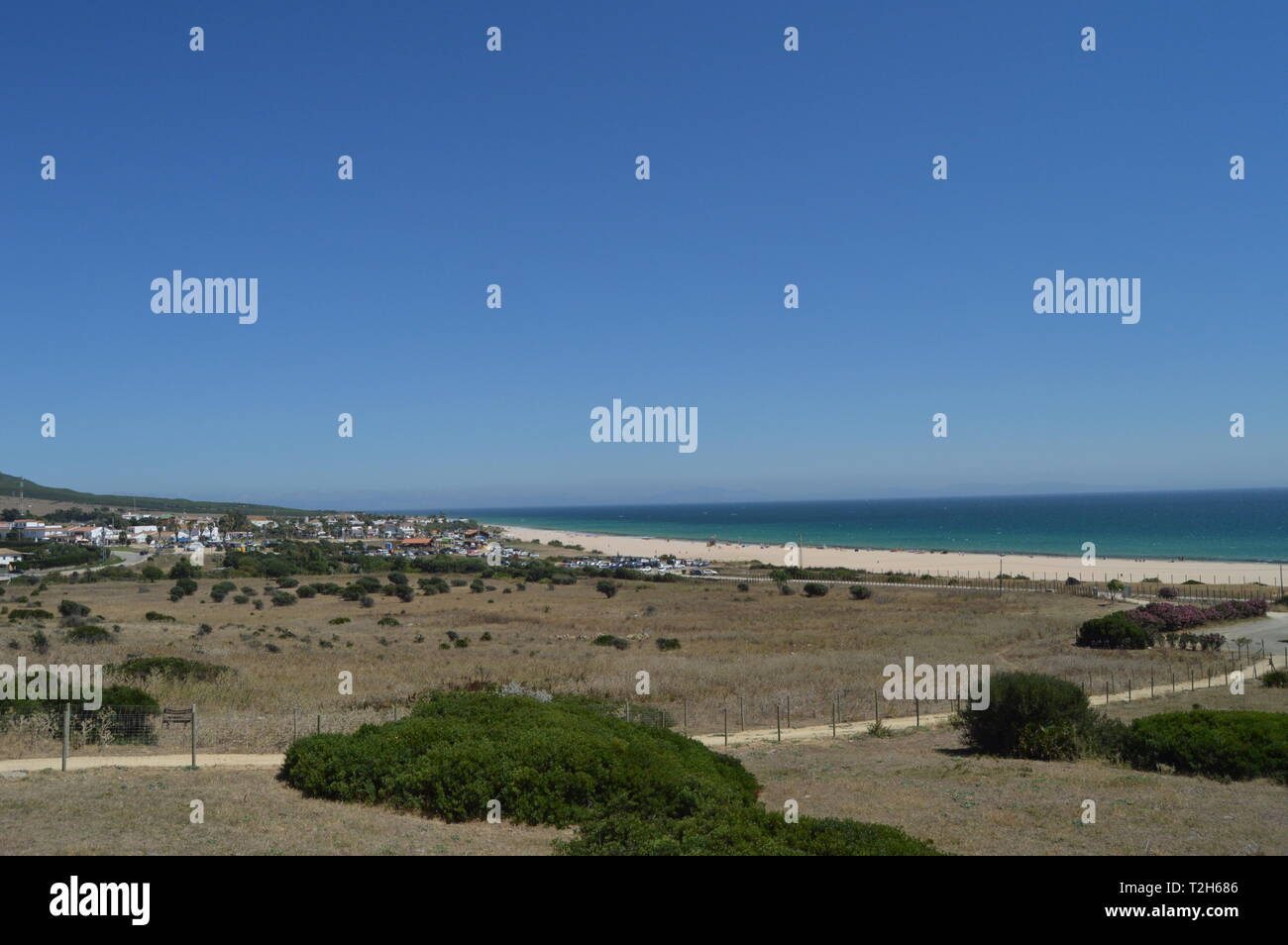 Only Virgin Beach Incredibly Preserved In The Iberian Peninsula Beach Of Bologna In Tarifa. Nature, Architecture, History, Street Photography. July 10 Stock Photo