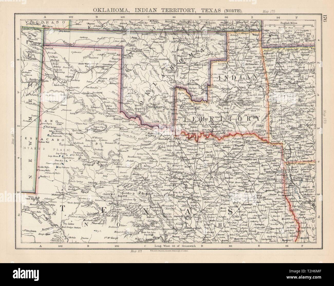 Map Of North Texas And Oklahoma.Usa South Central Oklahoma Indian Territory North Texas