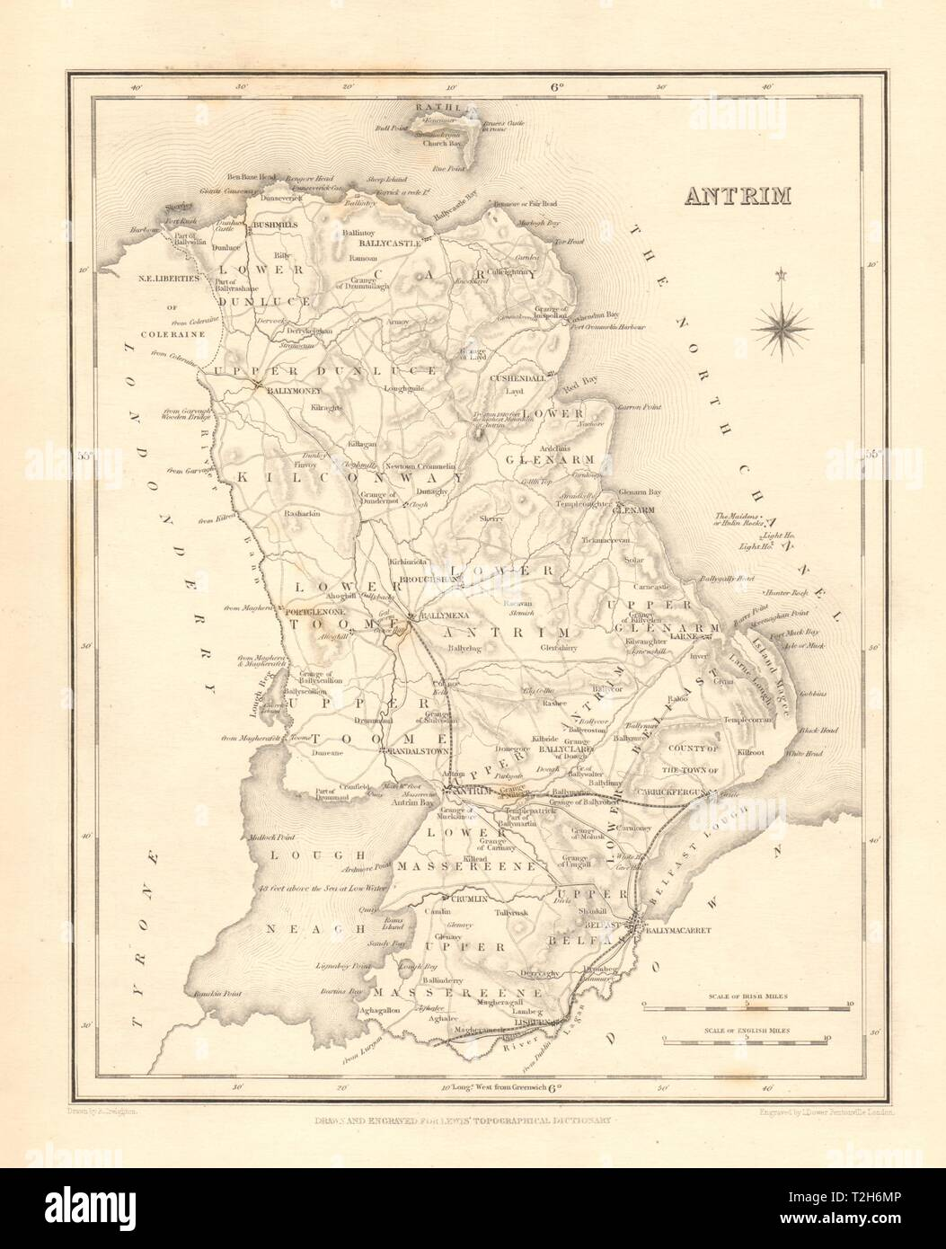 Bartholomew 1886 County Antrim Ulster Belfast Lisburn Antique County Map