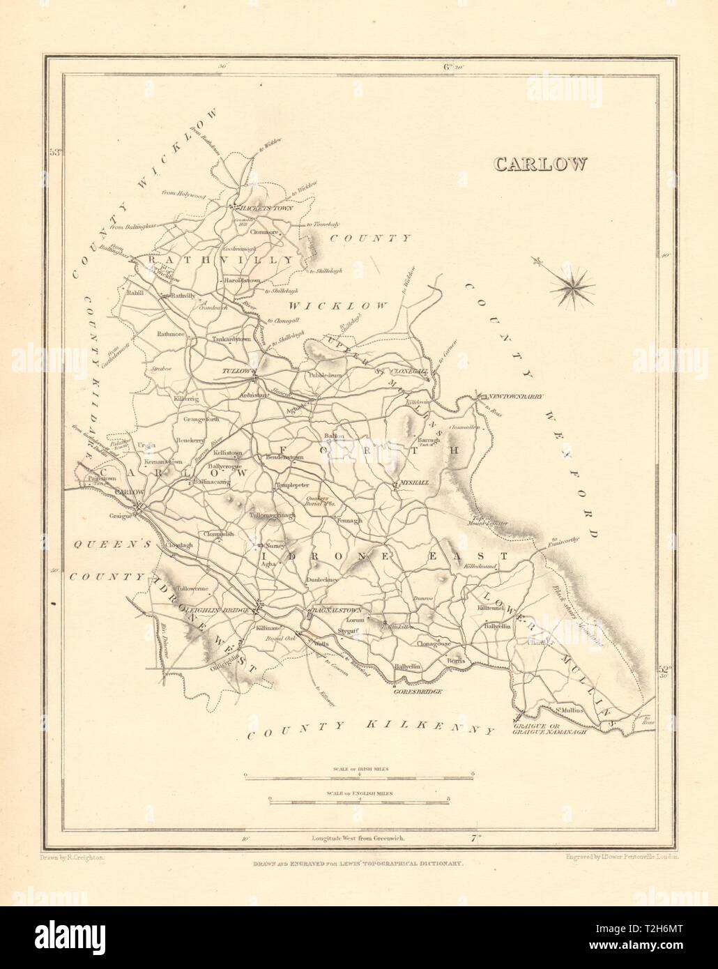 Carlow On Map Of Ireland.County Carlow Antique Map For Lewis By Creighton Dower Ireland