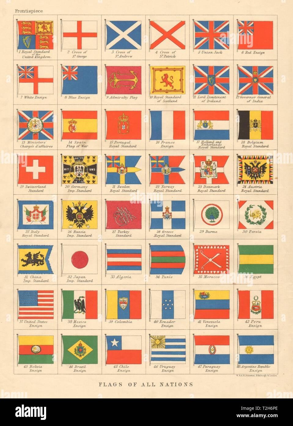 1899 Color Litho Print FLAGS Dominican Republic /& Equador Coat of Arms