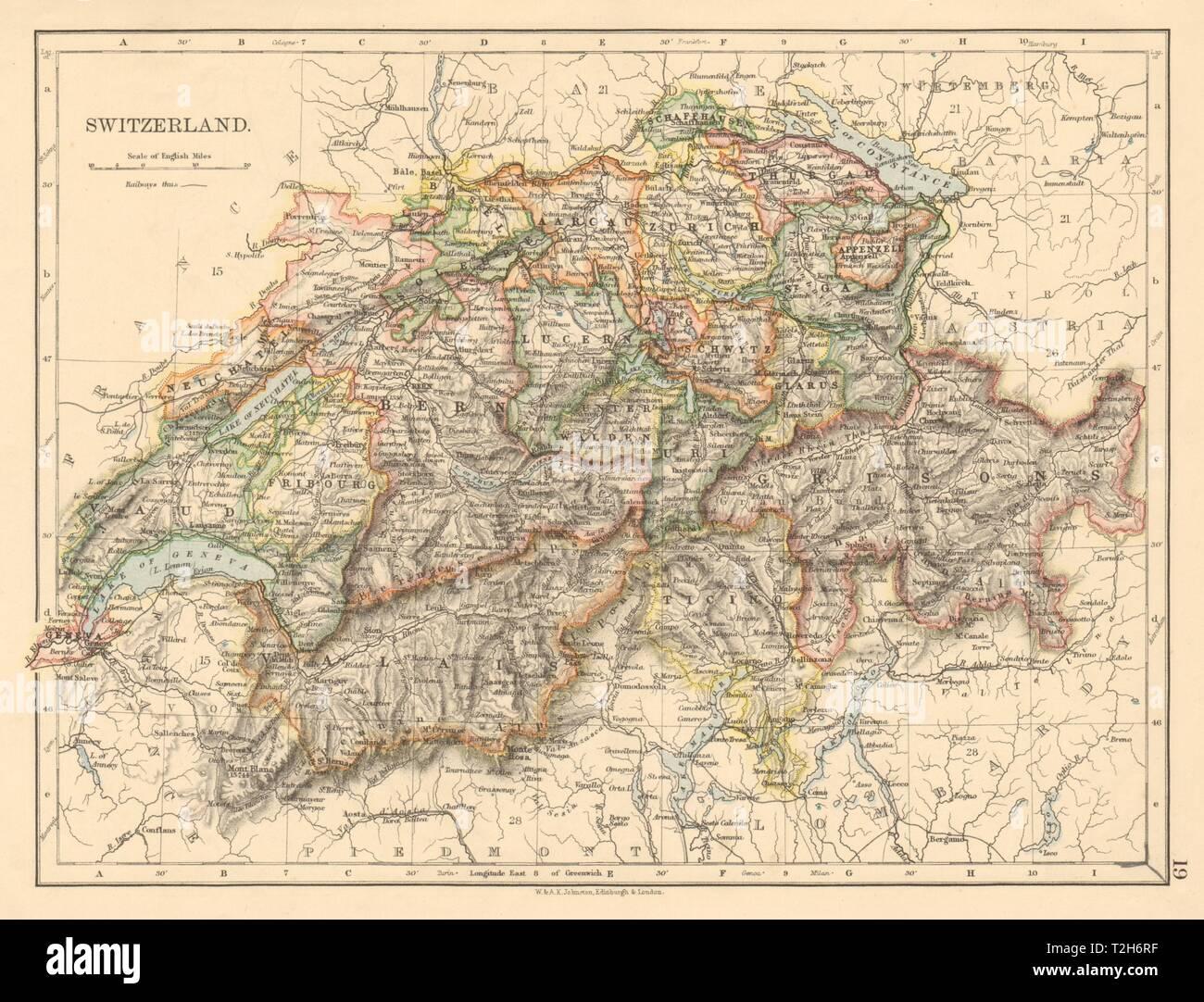 SWITZERLAND Shows cantons & railways Alps Italian lakes JOHNSTON ...