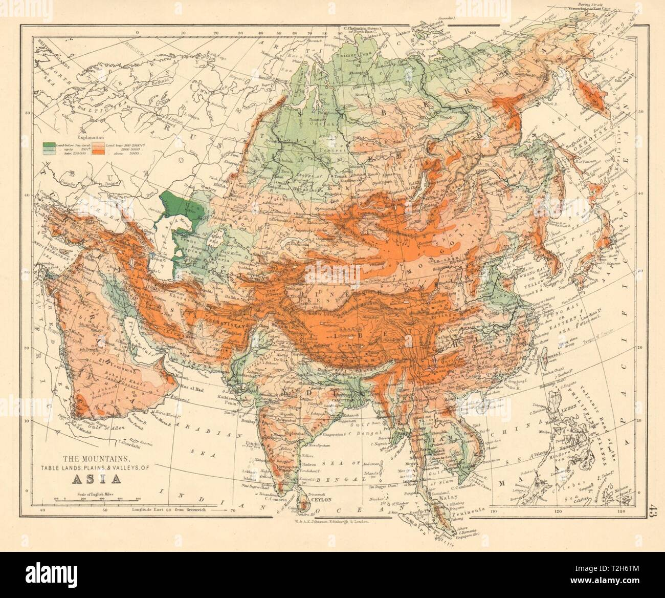 Map Of Asia Mountains.Asia Physical Relief Mountain Heights Ocean Depths Rivers Johnston