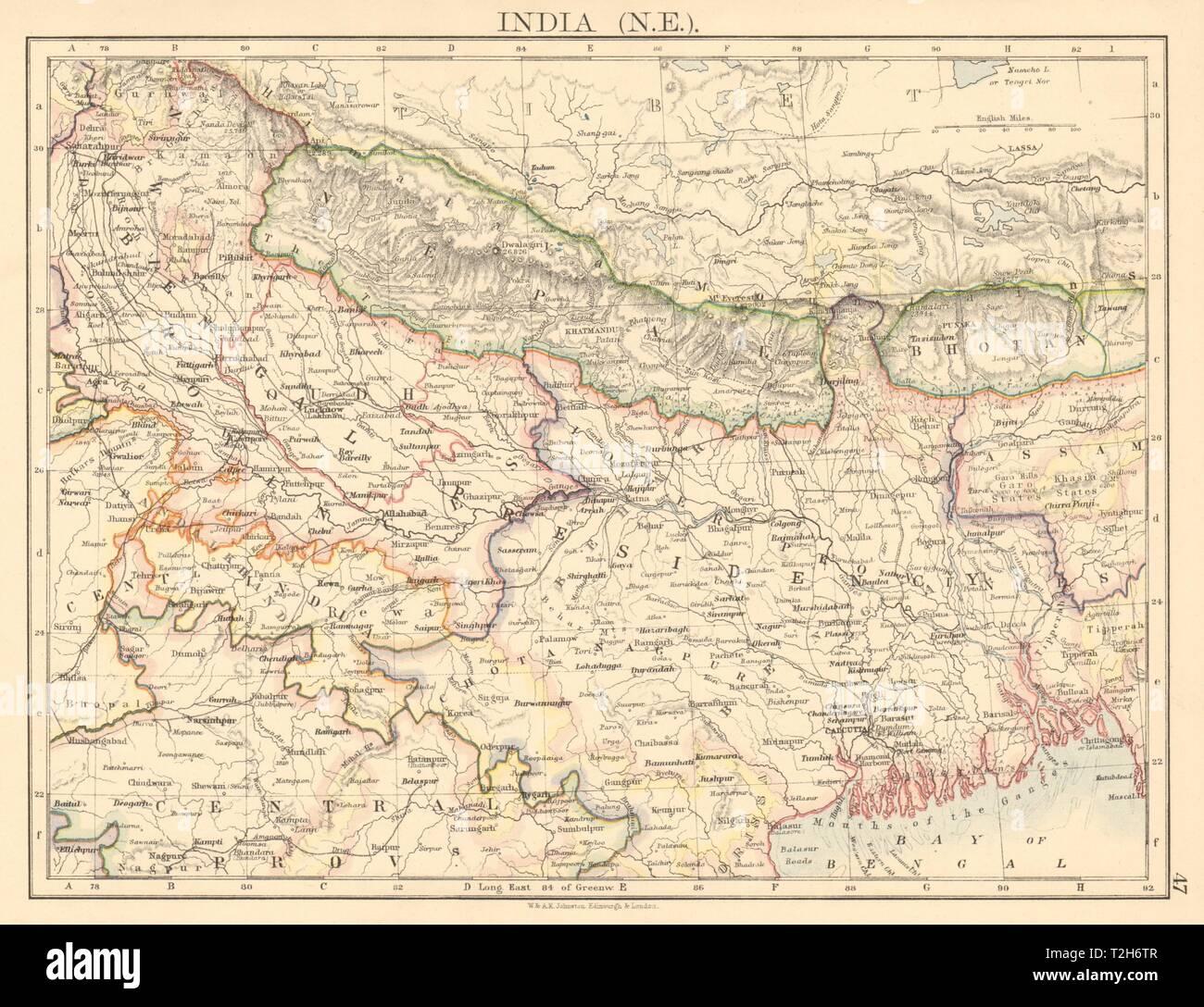 Bengal Nepal Bhutan Calcutta Bangladesh British India Ne Johnston 1906 Map