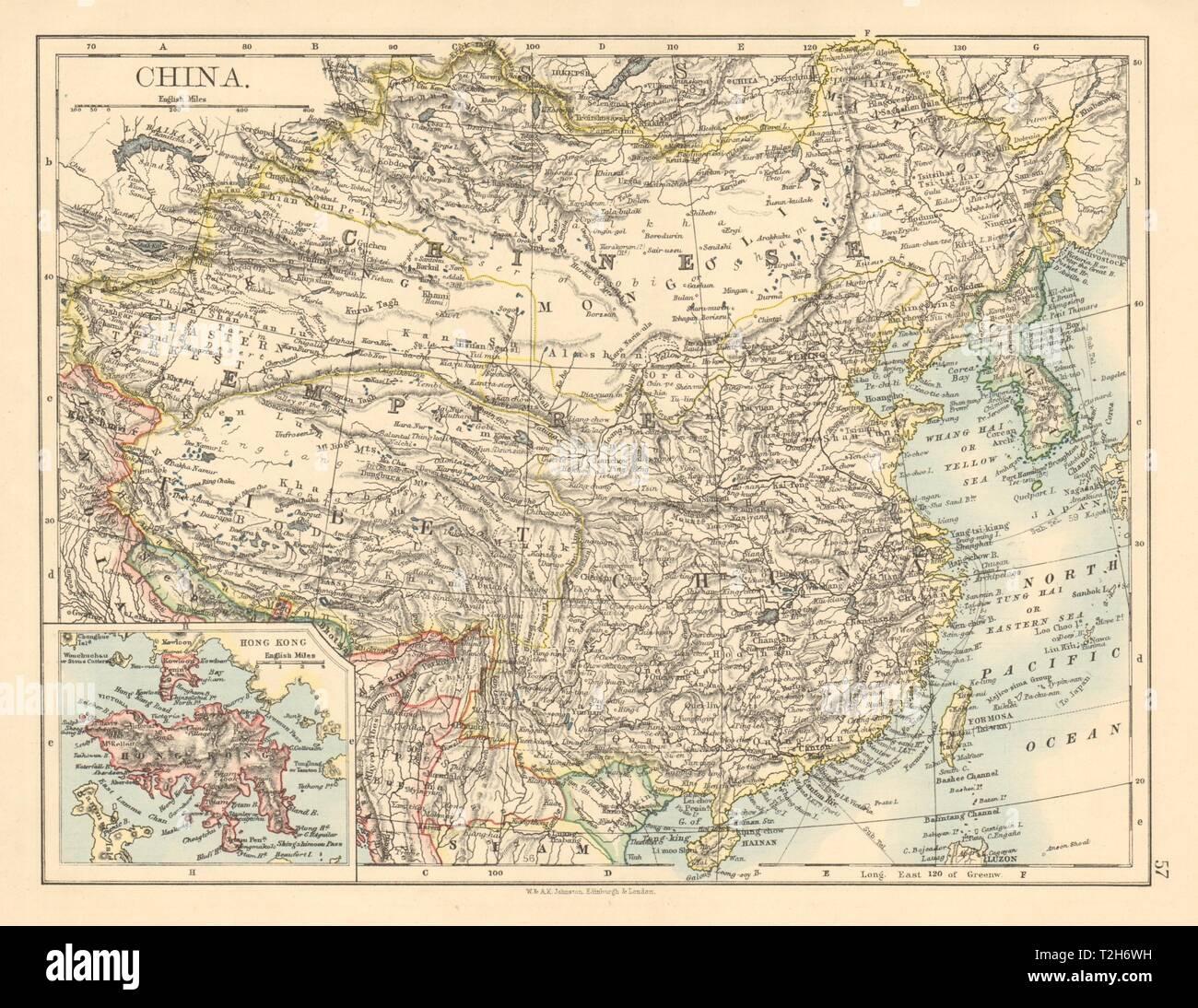 Map Of Asia Hong Kong.Chinese Empire China East Asia Tibet Mongolia Hong Kong Inset 1892