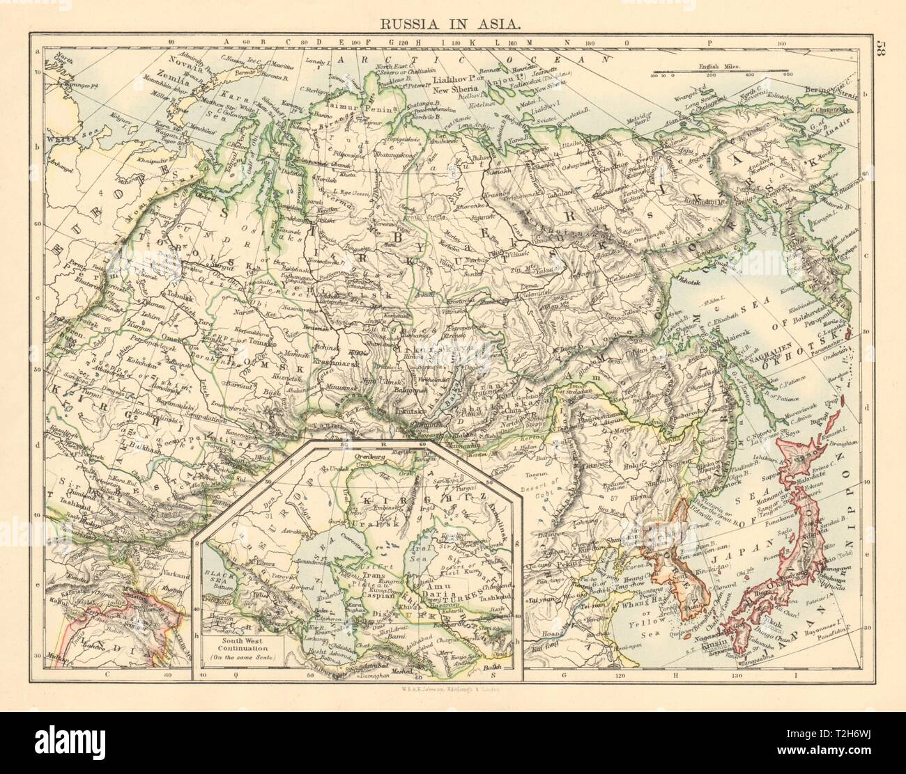 Map Of Asia Seas.Russia In Asia Siberia Caspian Aral Seas Korea Japan Johnston 1892