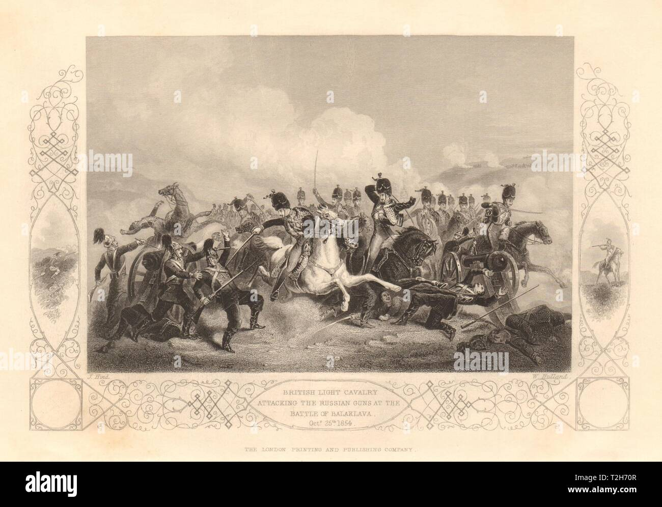 CHARGE OF THE LIGHT BRIGADE. Cavalry attacking Russians. 1854 Balaklava 1860 - Stock Image