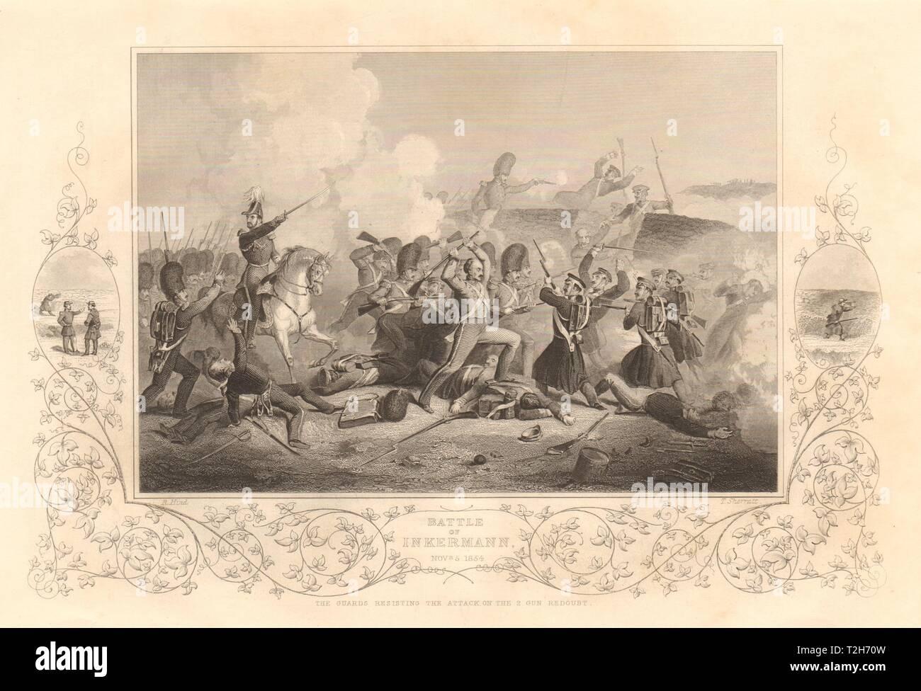 CRIMEAN WAR. The Battle of Inkerman. Nov 5th 1854. 1860 old antique print - Stock Image