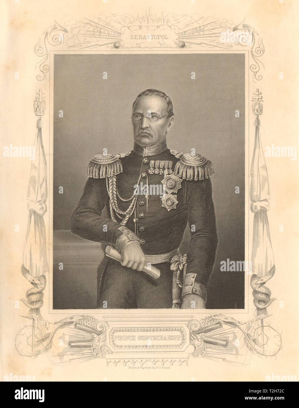 CRIMEAN WAR. Prince Alexander Mikhailovich Gorchakov 1860 old antique print Stock Photo