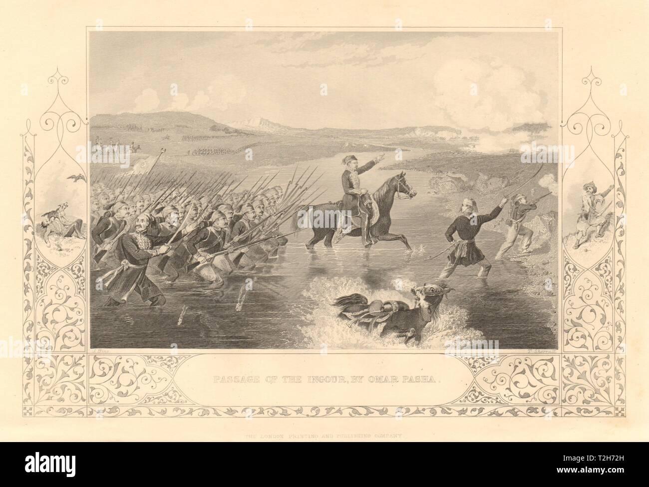 CRIMEAN WAR. Passage of the Ingour (Inguri) river by Omar Pasha. Georgia 1860 - Stock Image