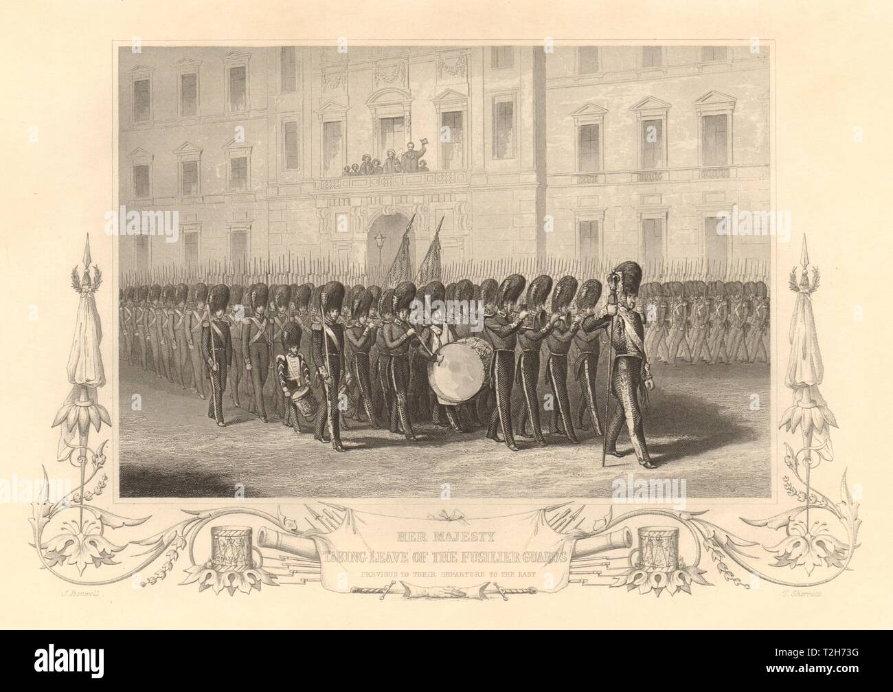 Queen Victoria reviewing the Fusilier Guards, leaving for the Crimean War 1860 - Stock Image