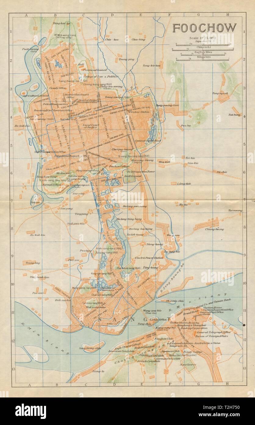 'Foochow'. Fuzhou antique town city plan. China 1924 old map chart Stock Photo