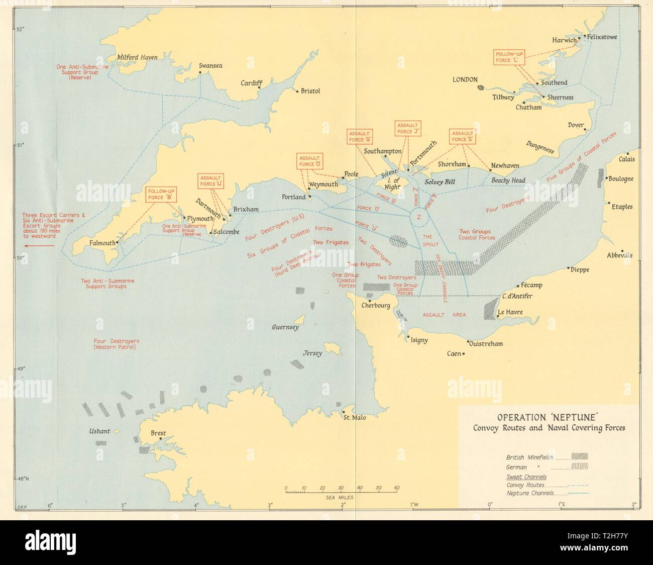 D Day Operation Neptune June 1944 Convoy Routes Naval Covering Forces 1962 Map Stock Photo Alamy