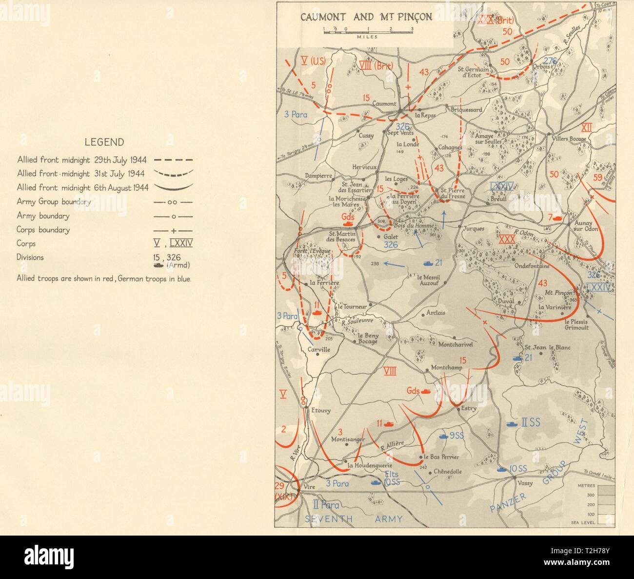 Operation Bluecoat. Caumont & Mt. Pinçon 29 July-6 August 1944 Normandy 1962 map - Stock Image