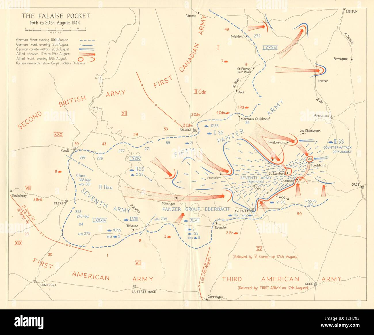 Battle of Falaise Pocket 16-20 August 1944 Operation Overlord Normandy 1962 map Stock Photo