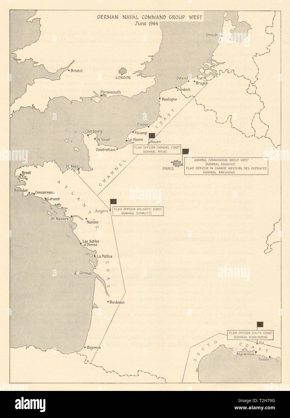 Map Of West France.German Naval Command Group West June 1944 France Operation