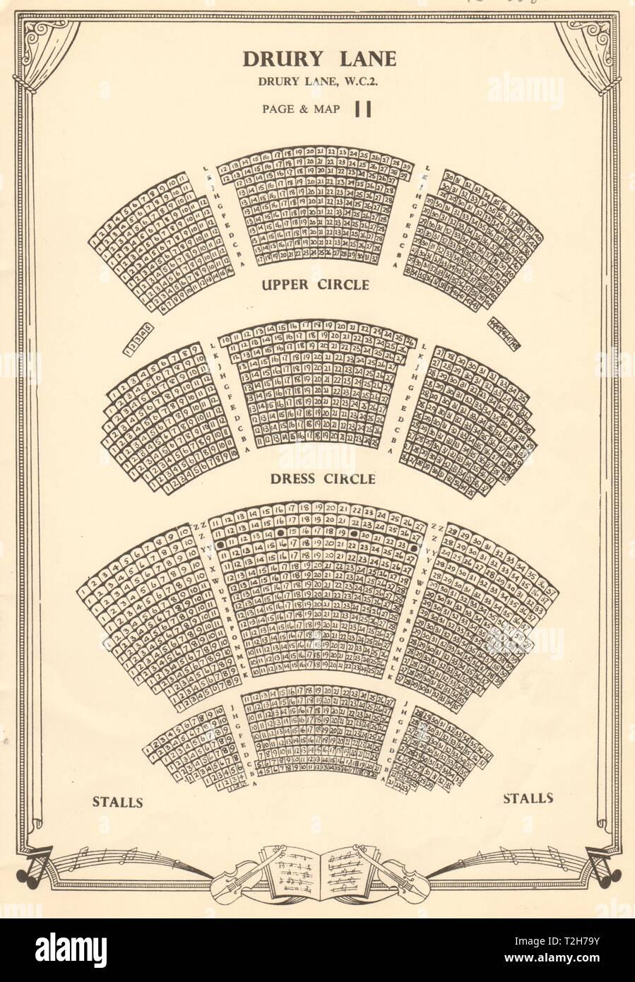Drury Lane Theatre, Covent Garden, London. Vintage seating plan c1955 print - Stock Image
