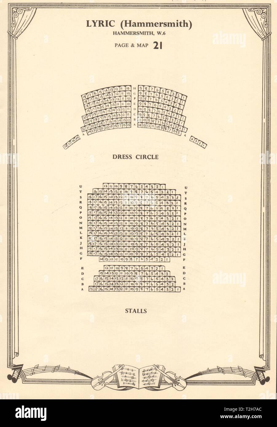 Lyric Theatre, Hammersmith, London. Vintage seating plan c1955 old print - Stock Image