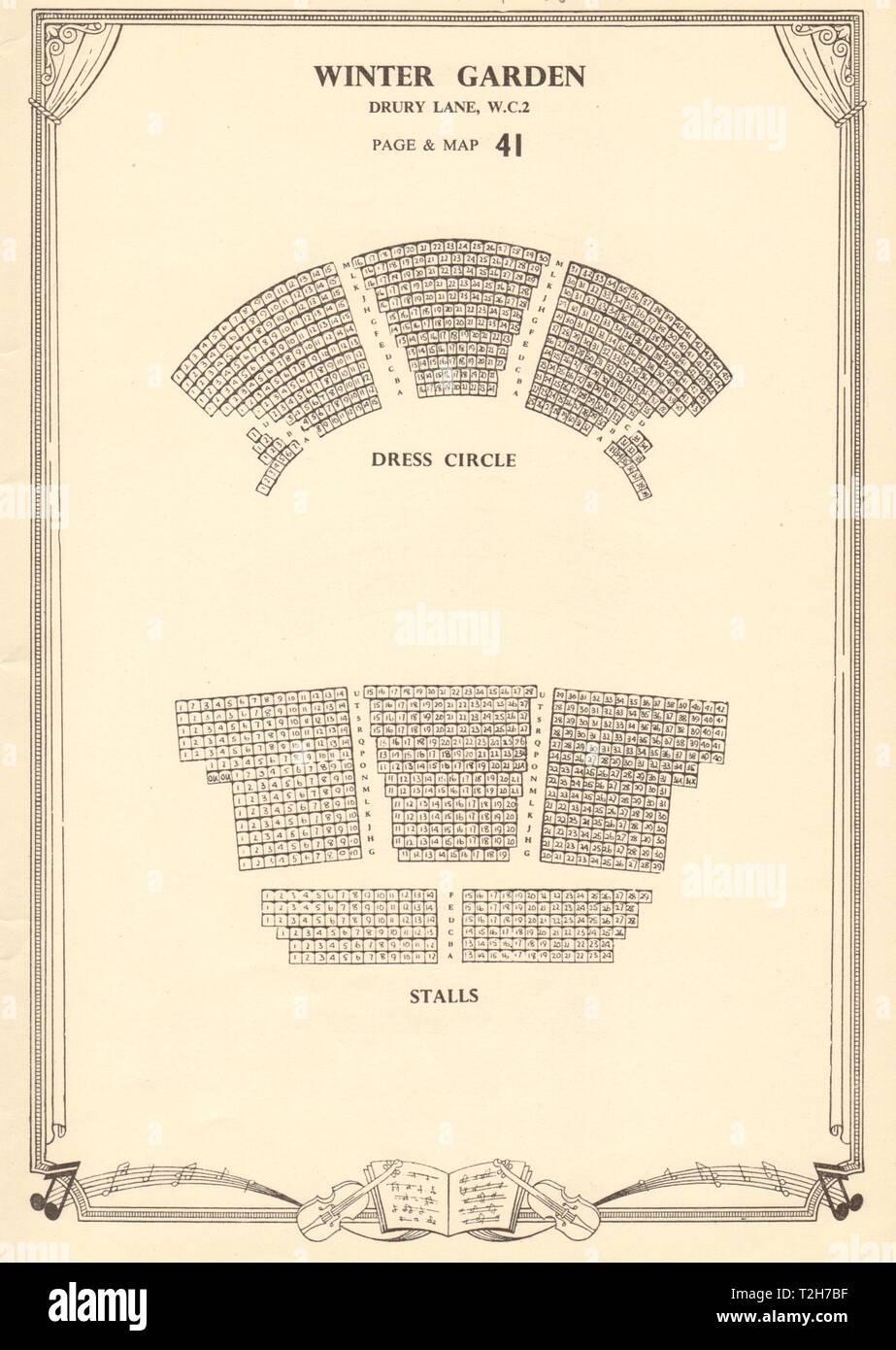 Winter Garden (Gillian Lynne) Theatre, Drury Lane. Vintage seating plan c1955 - Stock Image