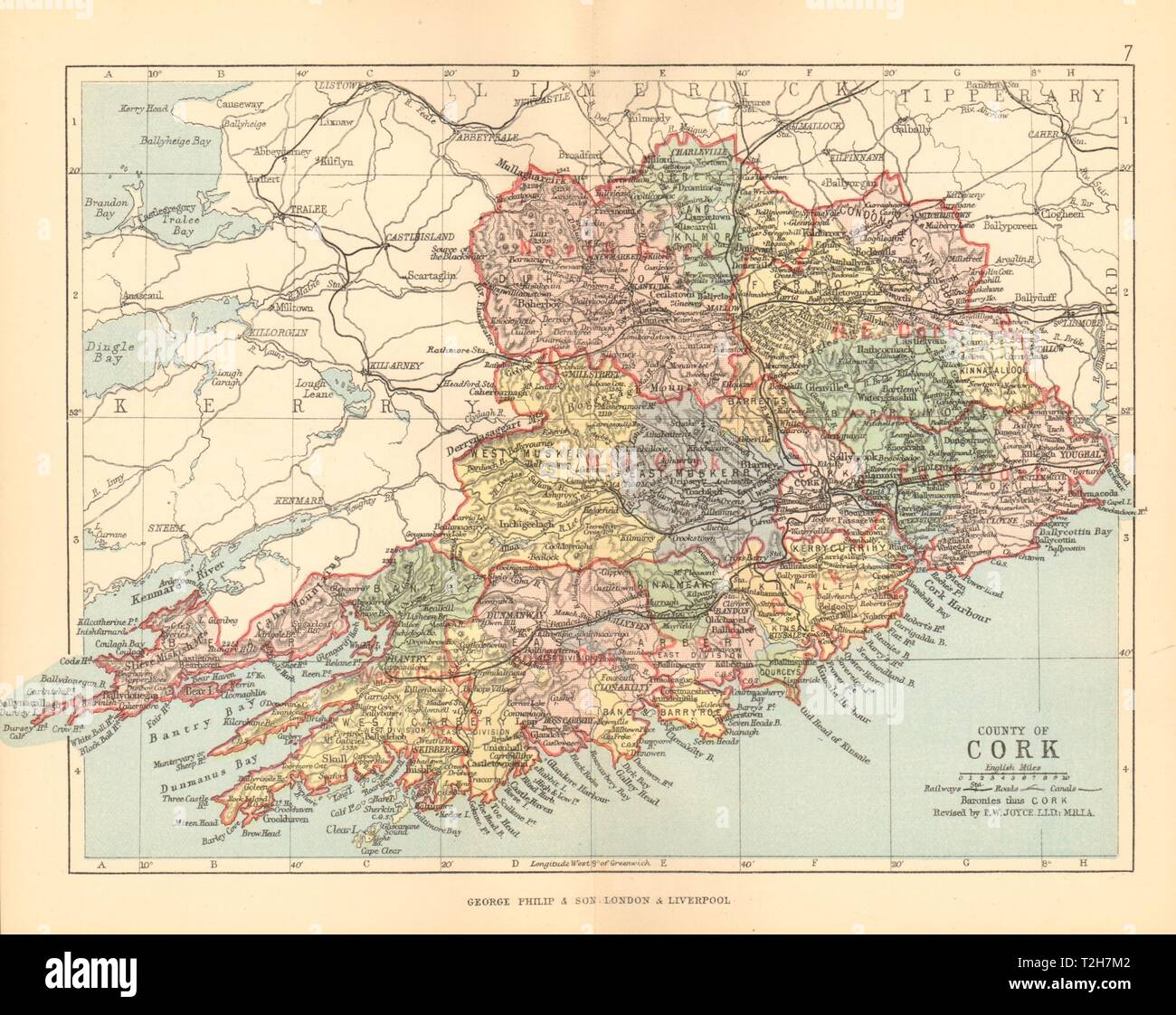 COUNTY CORK. Antique county map. Munster. Ireland ... on
