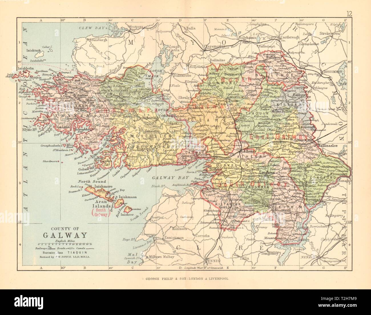 Map Of County Galway Ireland.County Galway Antique County Map Connaught Ireland Bartholomew