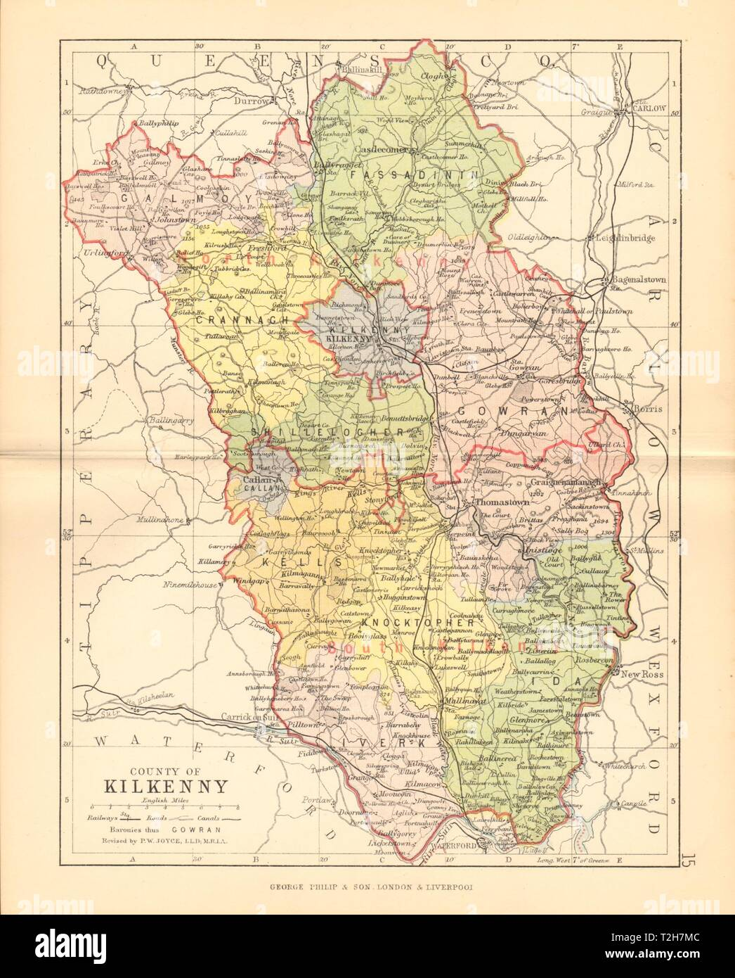 Map Of Ireland Leinster.County Kilkenny Antique County Map Leinster Ireland Bartholomew