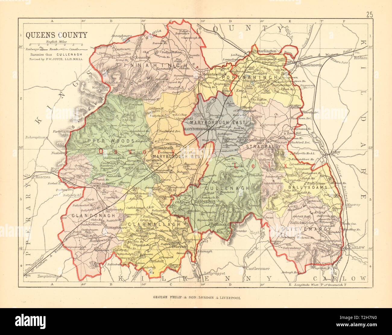 QUEENS COUNTY (LAOIS) . Antique county map. Leinster ... on
