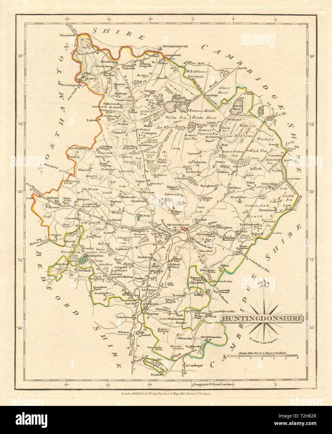Kimbolton St Neots 1793 Art Prints Helpful Antique County Map Of Huntingdonshire By John Cary
