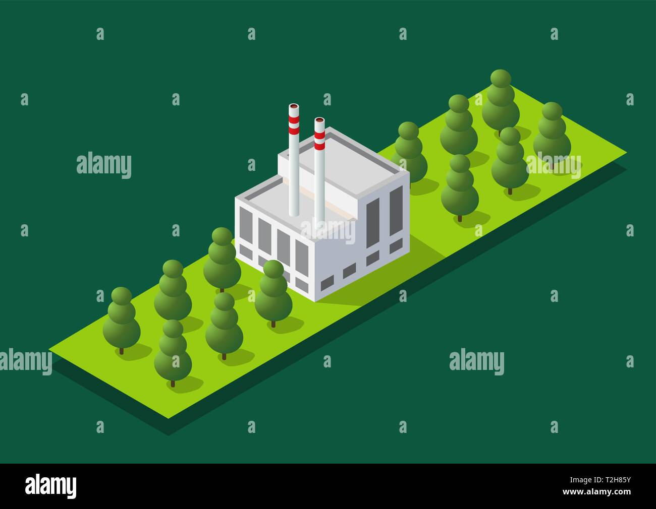 Top view of the construction industry and with 3d isometric factories, mills, boilers and warehouses. - Stock Vector