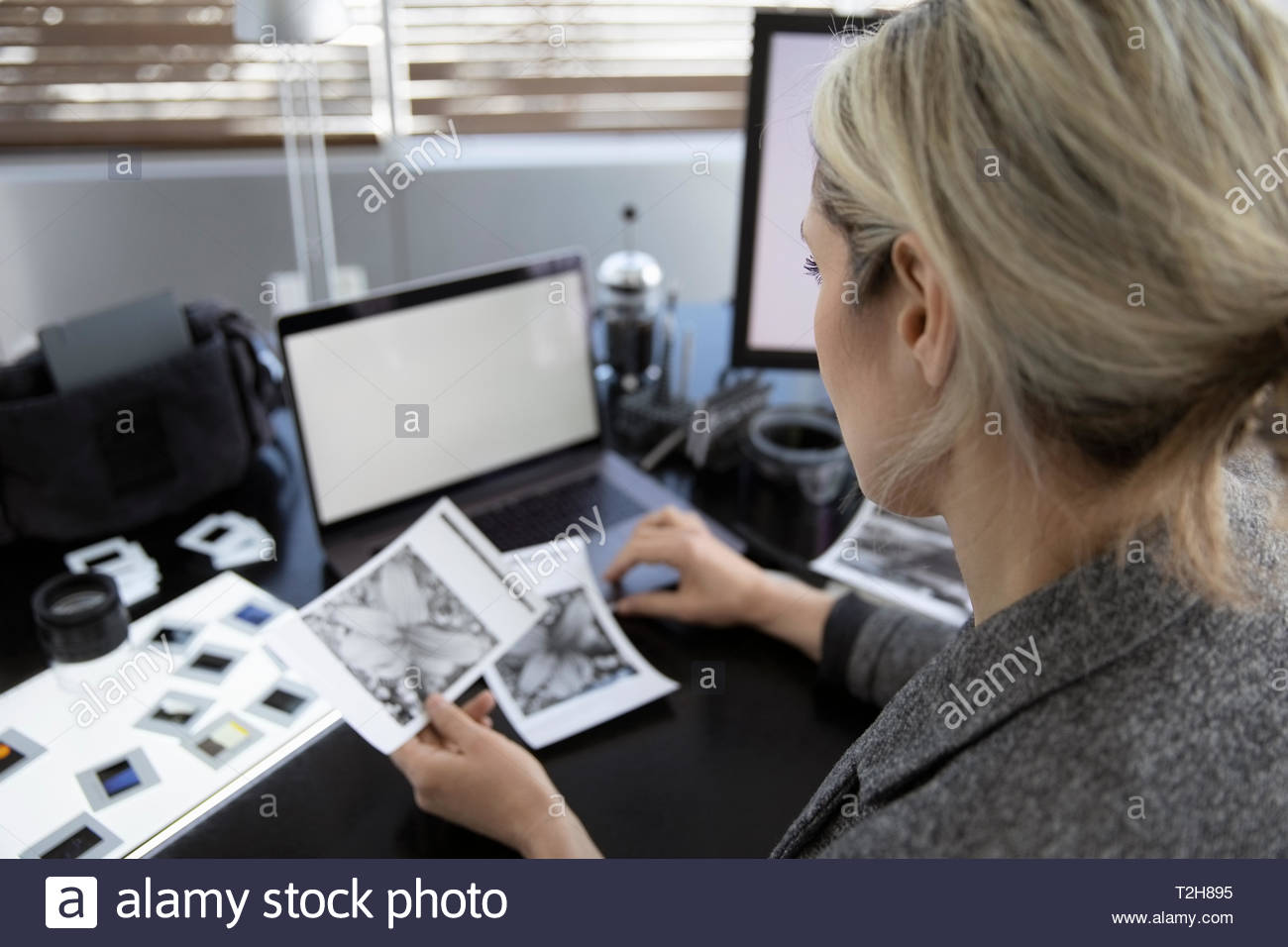 Female photographer reviewing negatives in office - Stock Image