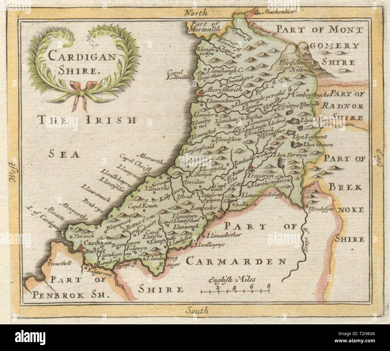 Antique county map of Cardiganshire by Francis Grose / John Seller 1783 - Stock Image