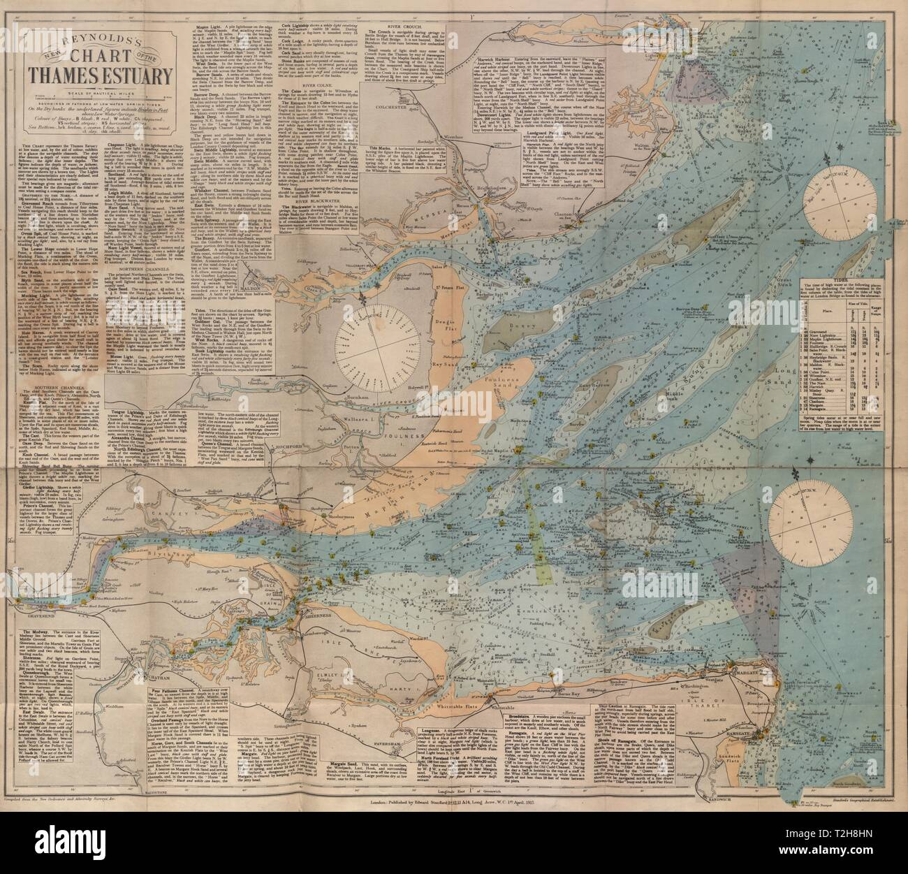 Thames Estuary Medway Southend-on-sea Sheerness Margate Clacton Maps, Atlases & Globes Large 1939 Map
