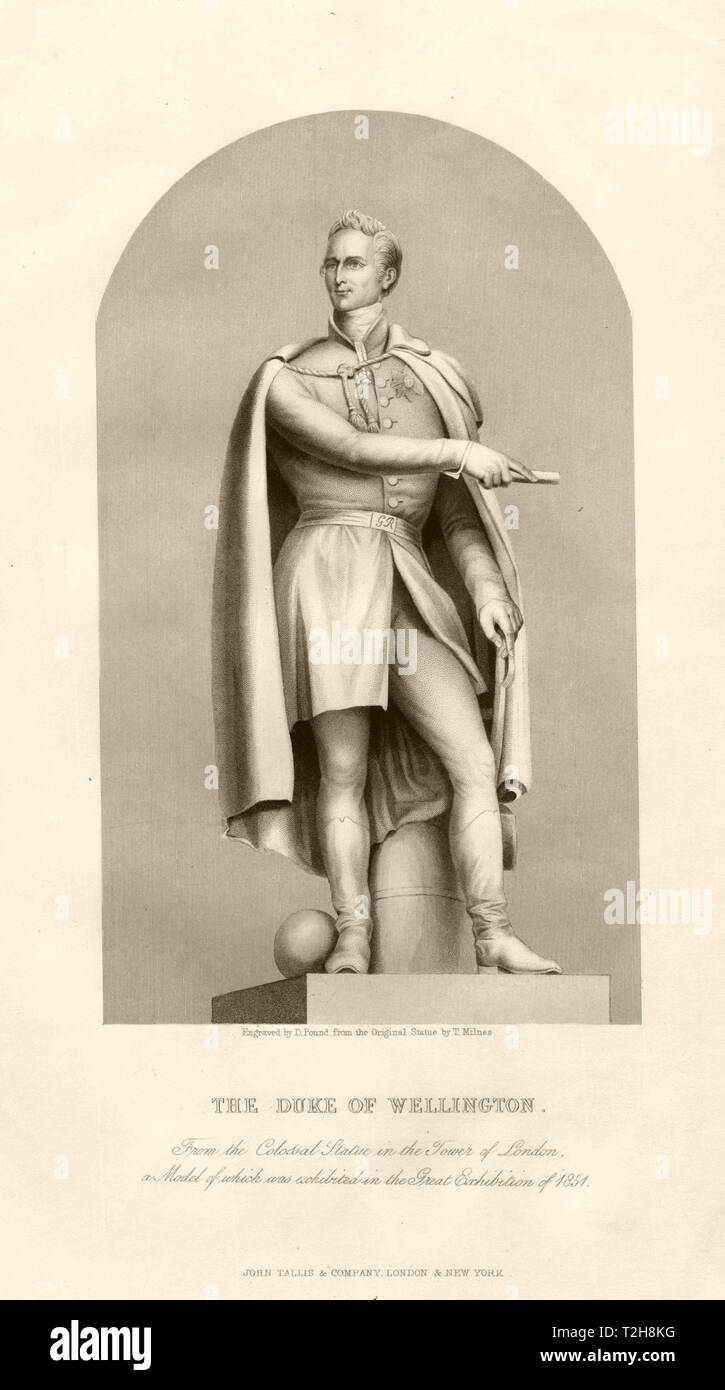 The Duke of Wellington. Statue in the Tower of London. TALLIS c1855 old print - Stock Image