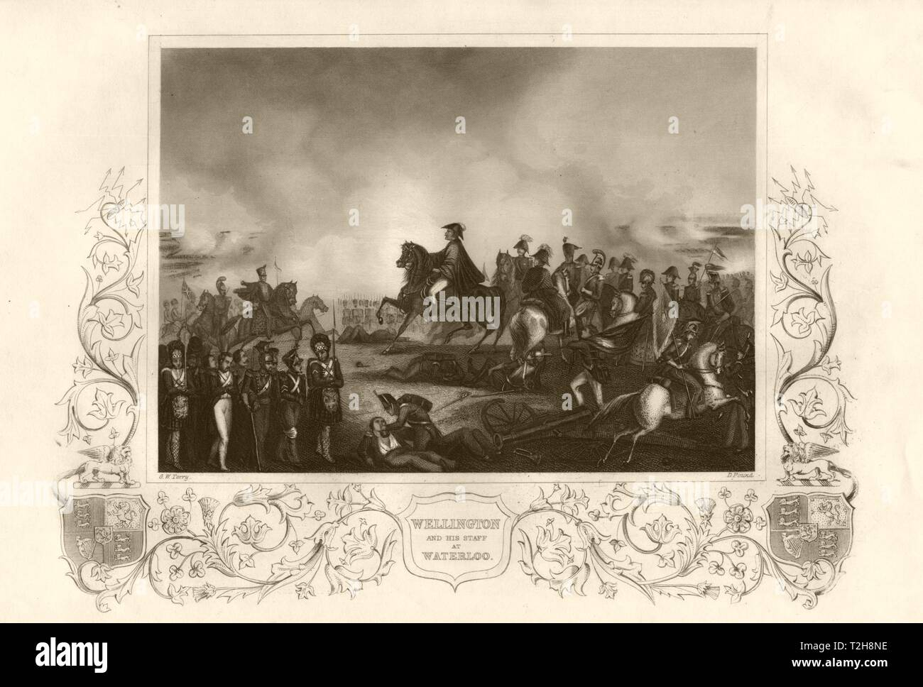 Wellington and his staff at the Battle of Waterloo. TALLIS c1855 old print - Stock Image