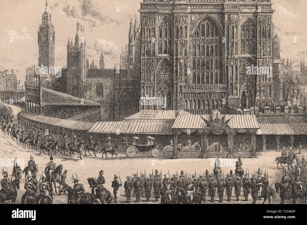 Arrival of the Queen at Westminster Abbey, 21st June, 1887. London 1890 print - Stock Image