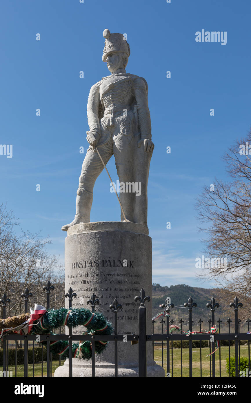 Memorial to Hungarian hussar soldier Rostás Pál who died in 1813 in a battle against Napoleon's army near Vipava, Slovenia - Stock Image