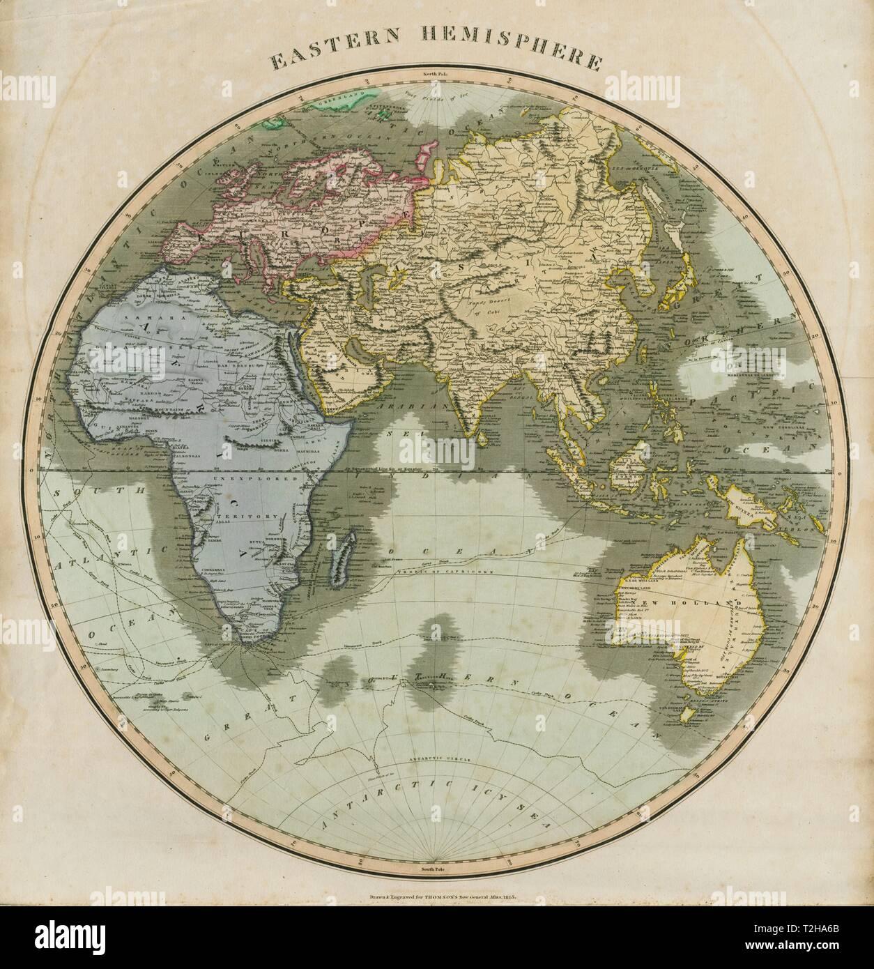 Map Of Africa Asia And Europe.Eastern Hemisphere Europe Africa Asia Australasia Thomson 1817