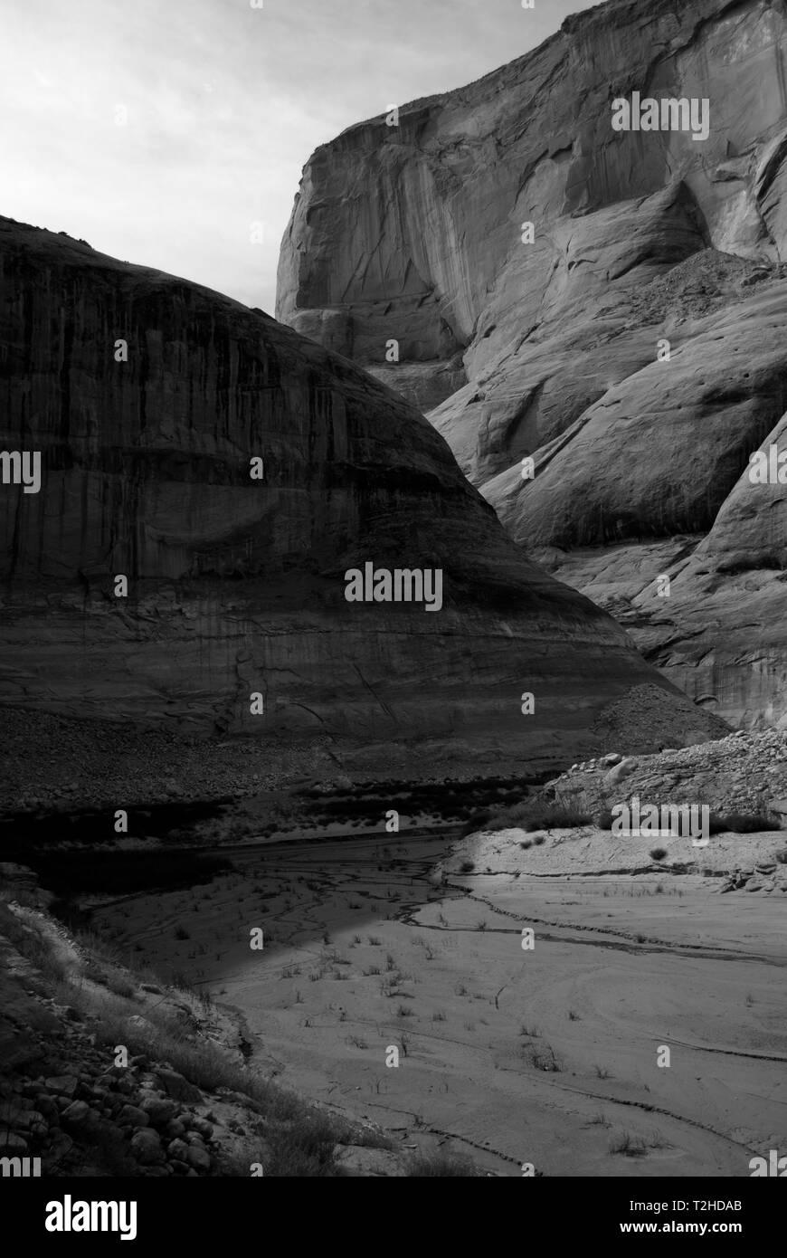 Sandstone valley in black and white during hot days. - Stock Image