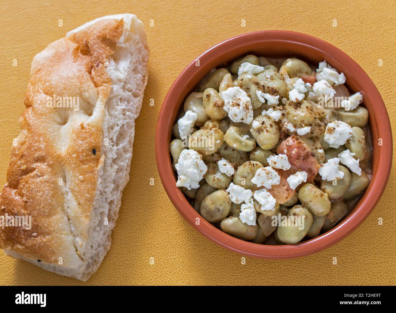 FulFoul, beans with sheep cheese and flat bread, dish from Southern Sudan, African cuisine, Sudan - Stock Image