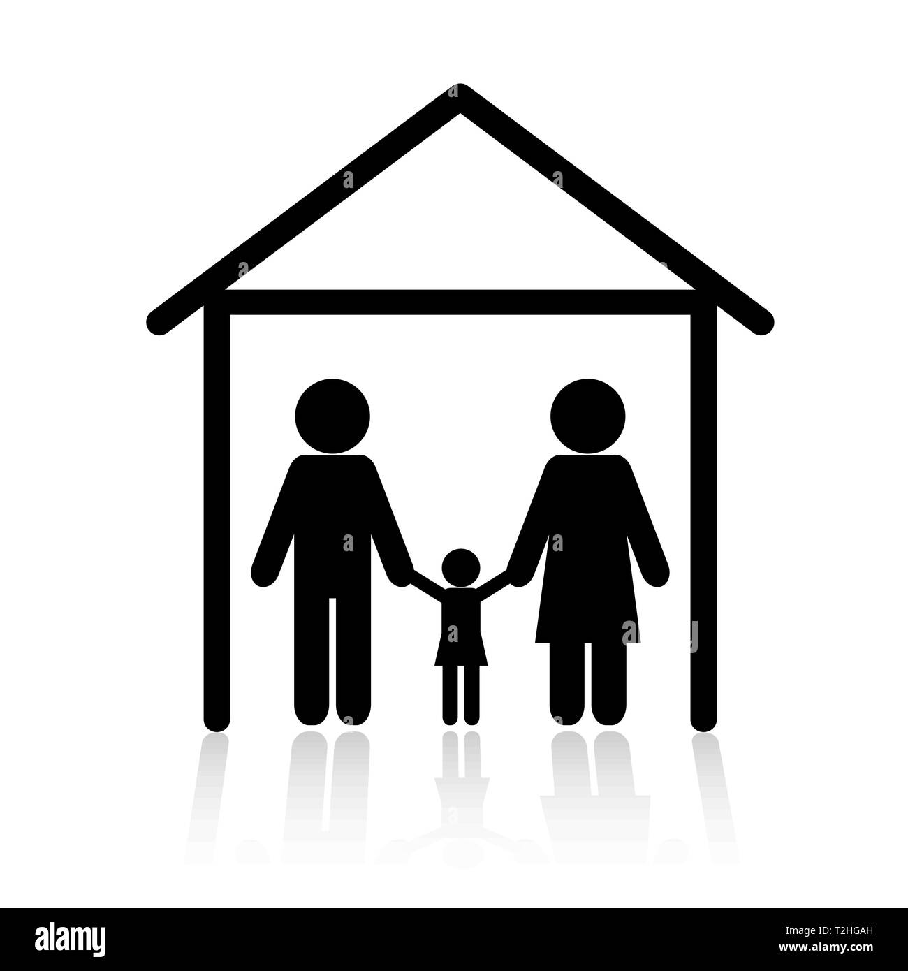 Family in sweet home icon vector - Stock Vector