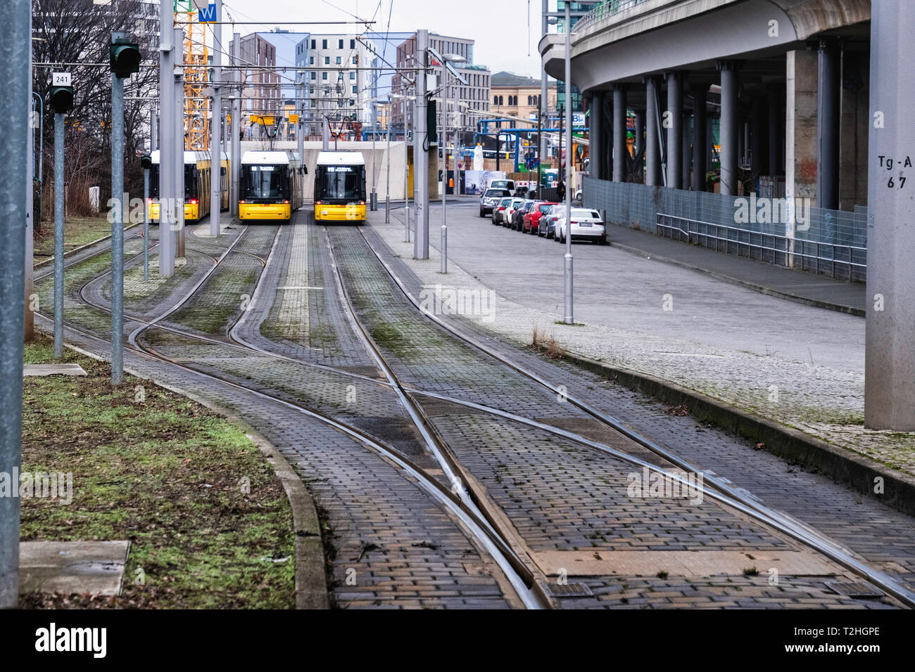 Berlin,Moabit, Tram terminus in Lüneburger Str. End of the line for M5 M8 & M10 trams Stock Photo