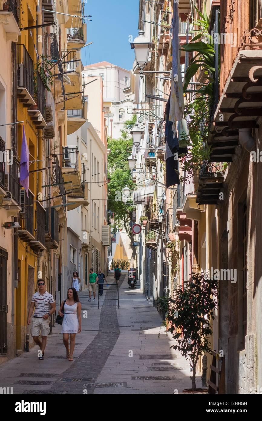 People walking on street in Cagliari, Sardinia, Italy ...