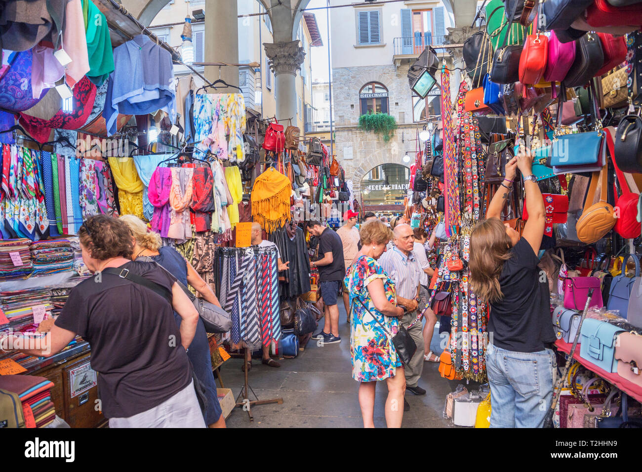 Customers shopping at Mercato Nuovo in Florence, Tuscany, Italy, Europe - Stock Image