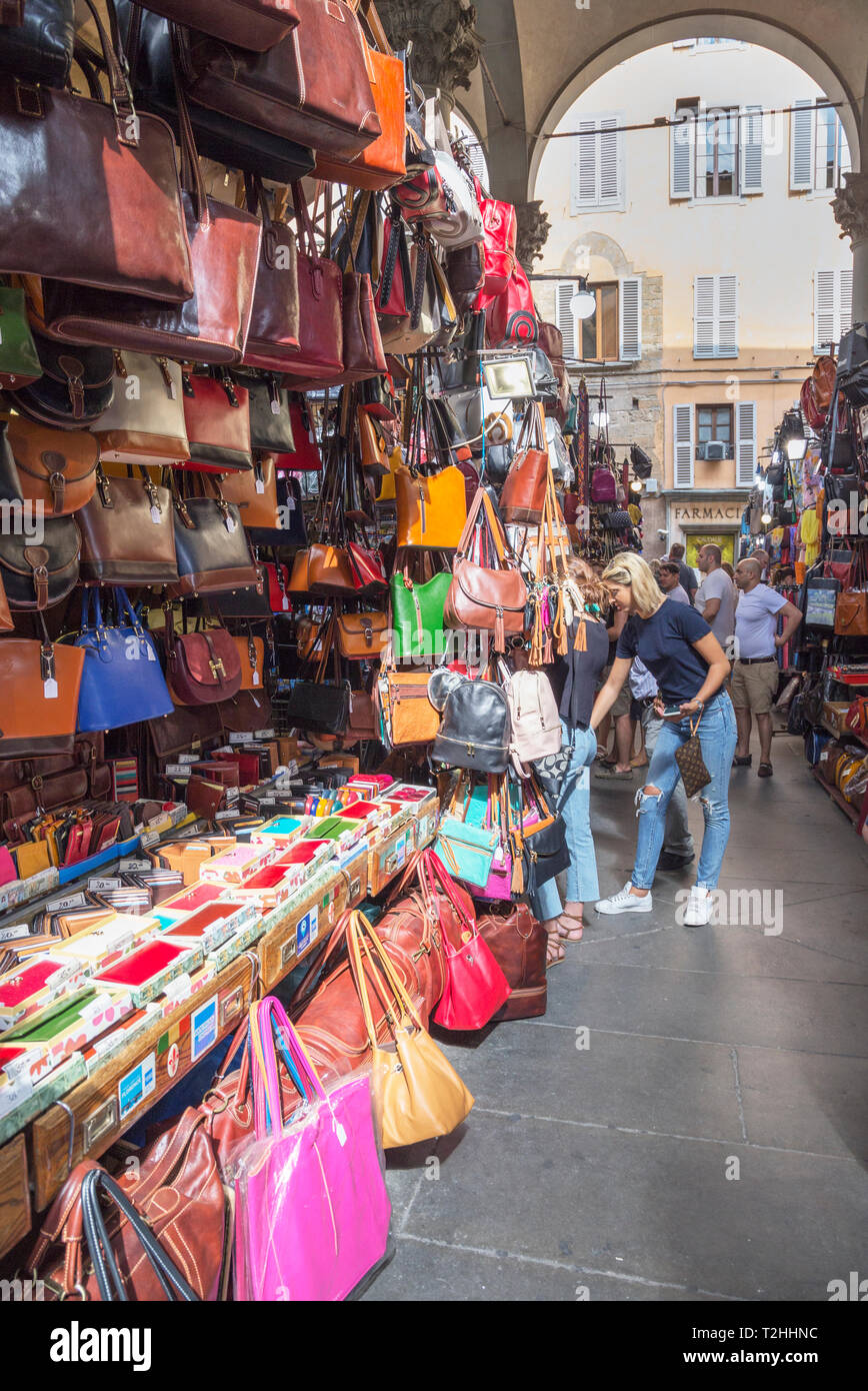 Handbag stall at Mercato Nuovo market in Florence, Tuscany, Italy, Europe - Stock Image