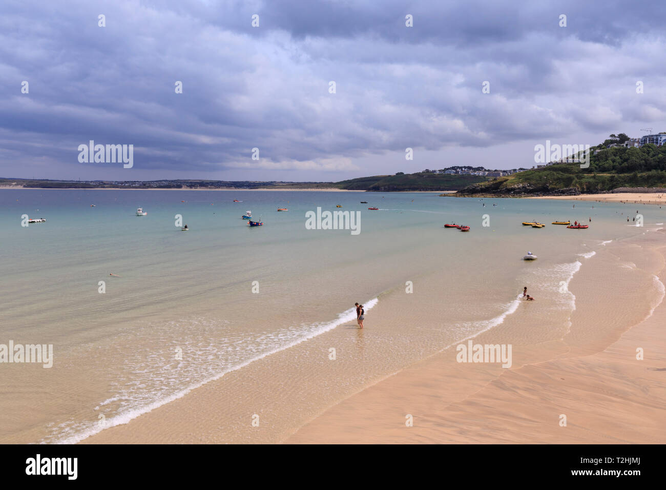 St Ives beaches, popular seaside resort in hot weather, Summer, Cornwall, England, United Kingdom, Europe - Stock Image