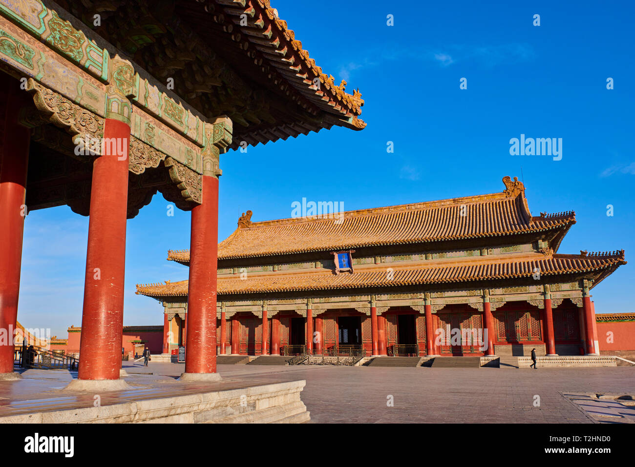 Hall of Preserving Harmony (in the background) with Hall of Central Harmony, Forbidden City, Beijing, China, East Asia - Stock Image